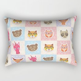 funny animals muzzle owl raccoon unicorn cow bear cat seamless pattern with pink lilac blue Rectangular Pillow