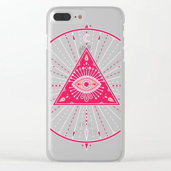 Evil Eye Mandala – Pink Clear iPhone Case