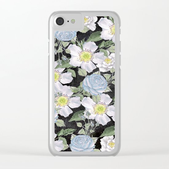 Vintage Rose Pattern Blue On Chalkboard Clear iPhone Case