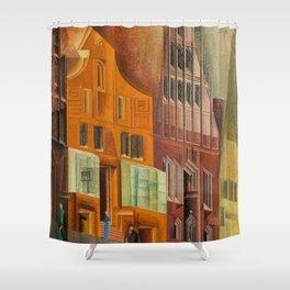 The City, Gables I, cityscape street scene painting by Lyonel Feininger Shower Curtain