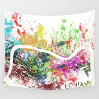 london map Wall Tapestries featuring London by Nicksman