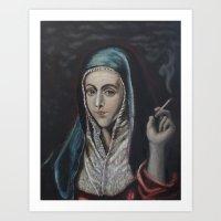 Smokin Virgin (after El Greco) Art Print