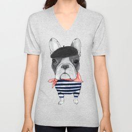 Frenchie with Arc de Triomphe Unisex V-Neck