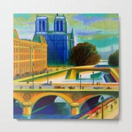 Vintage 1957 Paris River Seine & Notre-Dame Cathedral Travel Advertising Poster by Jacques Garamond Metal Print