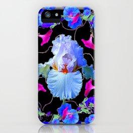 BLUE MORNING GLORIES & WHITE IRIS  SPRING  GARDEN ART iPhone Case