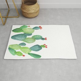 Prickly Pear Cactus in White Rug