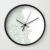 chicago map Wall Clocks featuring Map Chicago city watercolor map by Anne E. McGraw