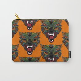 wolf fight flight orange Carry-All Pouch
