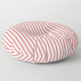 Mattress Ticking Narrow Striped Pattern in Red and White Floor Pillow