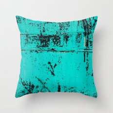 Old Blue Paint Throw Pillow