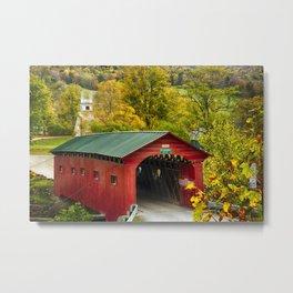 Scenic Covered Bridge of West Arlington in Vermont Metal Print