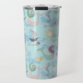 Mermaids, Sea and Boats Pattern Travel Mug
