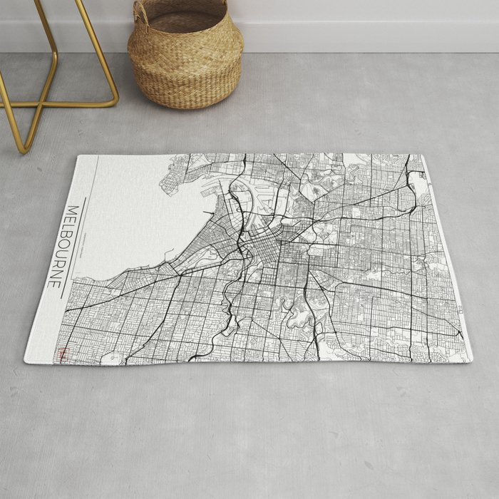 Melbourne Map White Rug By