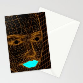 Man and lips Stationery Cards