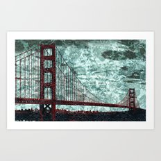 Red Bridge, Blue Bay Art Print