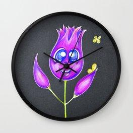 Crazy cute ninja flower with butterflies Wall Clock