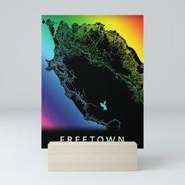 Freetown, Sierra Leone , City, Map, Rainbow, Map, Art, Print Mini Art Print
