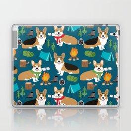 Corgi camping marshmallow roasting corgis outdoors nature dog lovers Laptop & iPad Skin