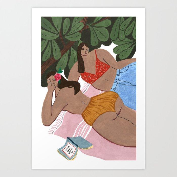 "Girls on a ""Summah"" towel Art Print"