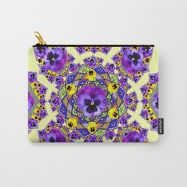 MANDALA OF PURPLE & YELLOW PANSY GARDEN Carry-All Pouch