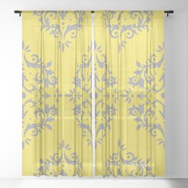 Simple Damask Scroll Pattern V2 Pantone 2021 Color Of The Year Illuminating and Ultimate Gray  Sheer Curtain