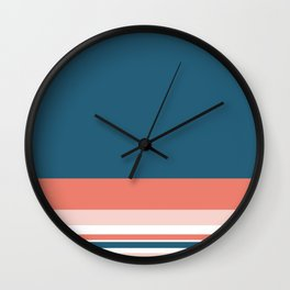Lovely Colours Minimalist Color Block Stripe Design in Teal Blue, Coral Pink, Blush, and White Wall Clock