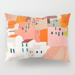 italy coast houses minimal abstract painting Pillow Sham
