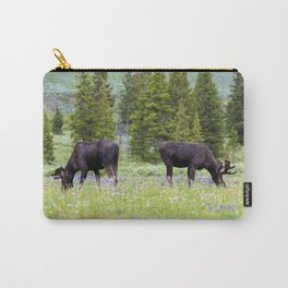 Two Moose Grazing Carry-All Pouch