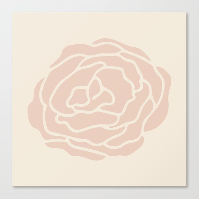 Rose Vintage Pink on Petal Cream Canvas Print