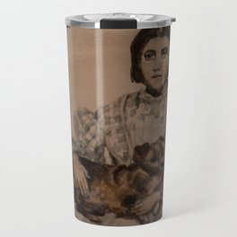 watercolor portrait of victorian girl with dog Travel Mug