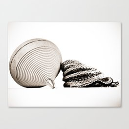 BW Wooden Spinning Top Canvas Print