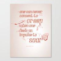 helen green Canvas Prints featuring Soar - Illustrated quote of Helen Keller by VonFires (Adele van Vuuren)