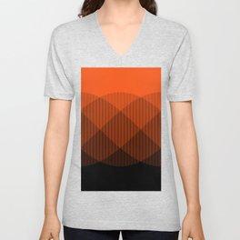 Orange to Black Ombre Signal Unisex V-Neck