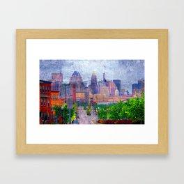 Baltimore skyline from Johns Hopkins Hospital Framed Art Print
