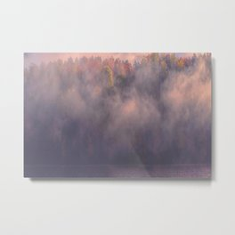 In a Mist New England Autumn Panorama Metal Print