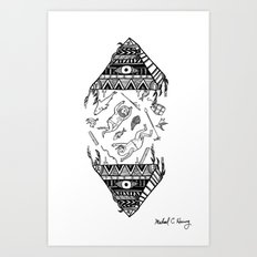 On how the mystical levitation of divers are induced by floating pyramids Art Print