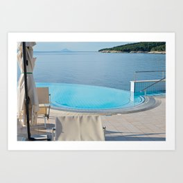 Empty infinity pool on the sunrise, quiet bue sea Art Print