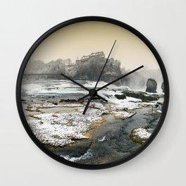 Rhine Falls in Winter Wall Clock