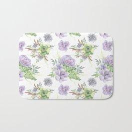 Desert Succulents Purple and Green Bath Mat