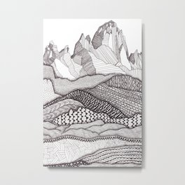 Patterns on Patagonia / Black and White Mountain Drawing / Abstract Mountain Landscape Metal Print
