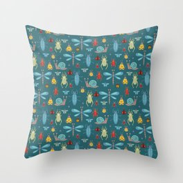 Little Bugs and Mini Beasts on Teal Throw Pillow