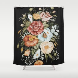 Roses and Poppies Bouquet on Charcoal Black Shower Curtain