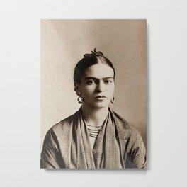 Frida Kahlo Portrait, Vintage Sepia Wall Art Metal Print