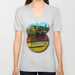 Bench at the pond Unisex V-Neck