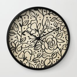 Grungy Vintage Black and White Floral Pattern Wall Clock