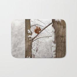 Squirrel sitting on twig in snow Bath Mat