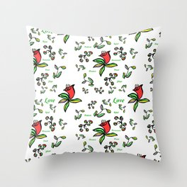 Enlarge Red Flower with Words Throw Pillow