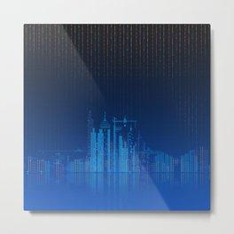 Sky Lines City Lake by Night Metal Print