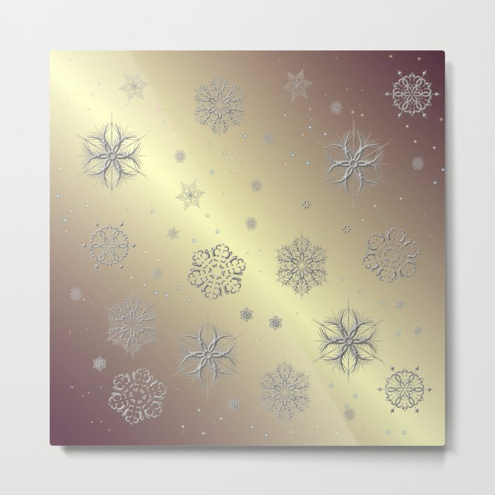 Snowflakes in the Sky Metal Print