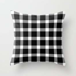 Plaid Dark Black Throw Pillow
